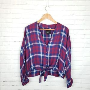 Rails Sloan Plaid Tie Waist Blouse